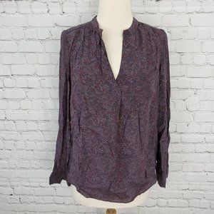Rebecca Taylor silk muted floral blouse purple 4